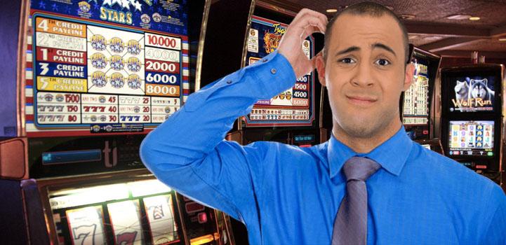 Person verwirrt von Slots