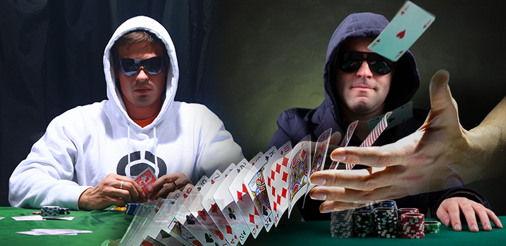 Pokerspieler und Karten werden gemischt