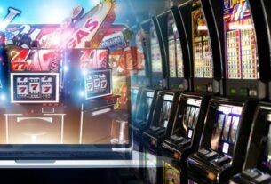 Online-Spielautomat und Reihe von Casino-Slots