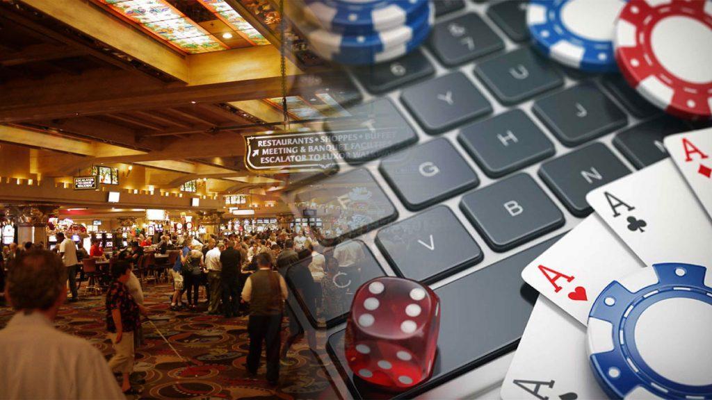 Casino-Etage und Laptop-Tastatur